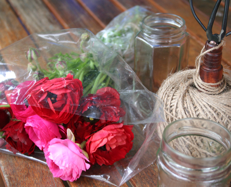 all you need; string, jars, flowers
