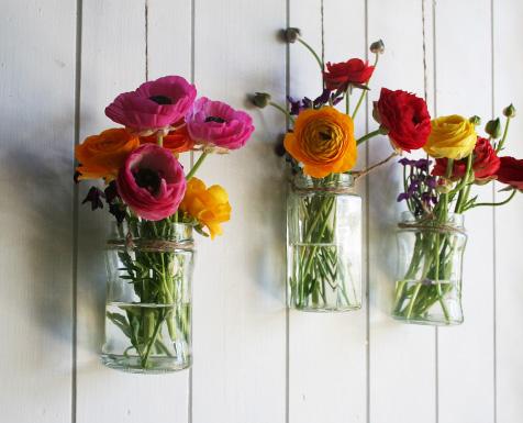 flowers in hanging jars